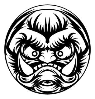 54588247 - an illustration of a stylised troll or other monster face emoji icon