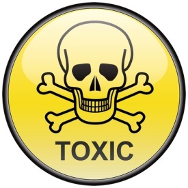 8504280 - skull and bones toxic vector round hazardous sign
